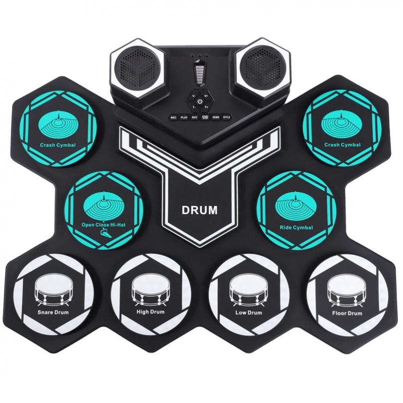 Roll Up Electronic Drums Set 8 Silicon Pads Built-in Speakers MIDI Support Bluetooth-compatible with Built-in Lithium Battery enlarge