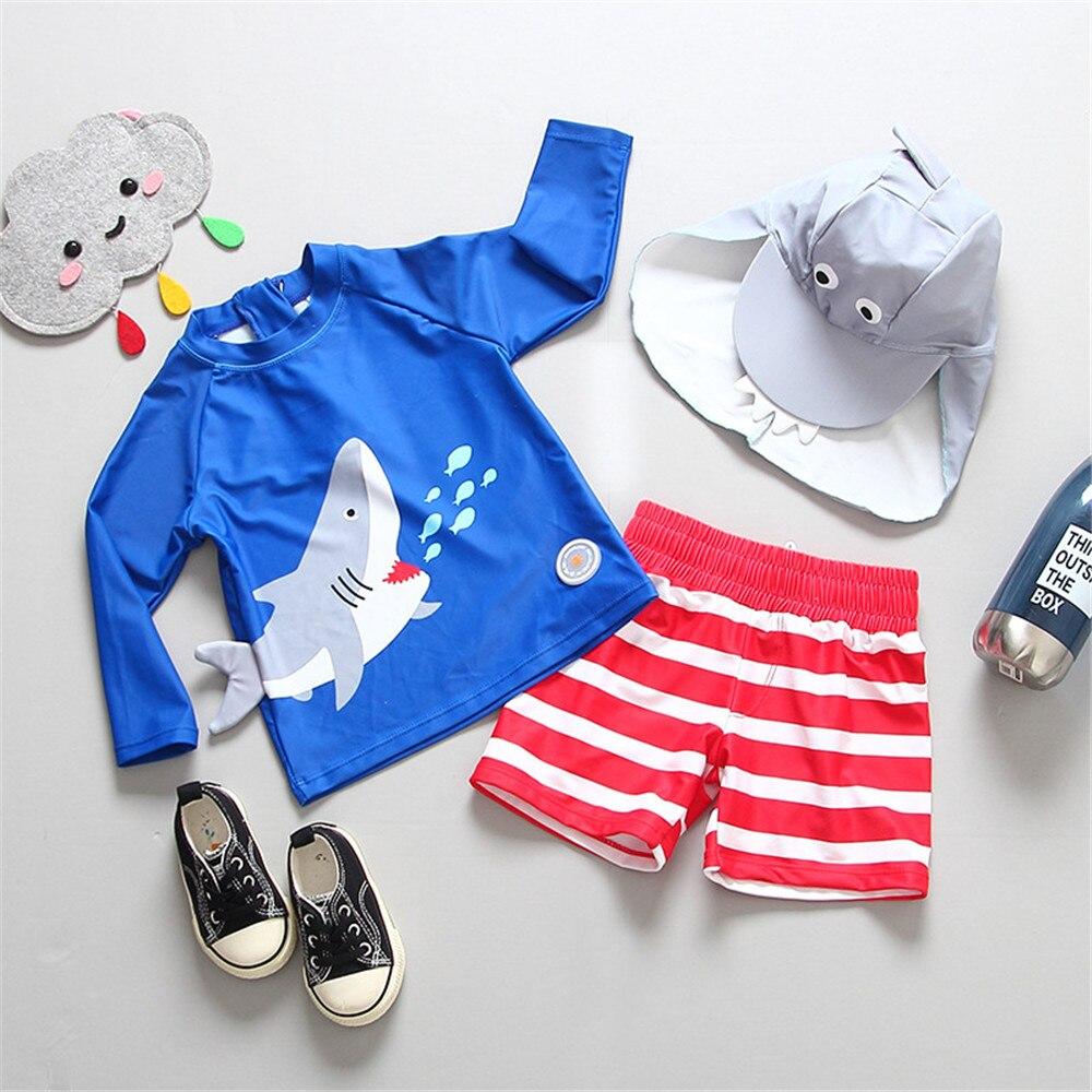 Niños tiburón dos piezas traje de baño moda natación para baño y surf Beathwear traje de baño conjunto de camisetas + Pantalones cortos niños natación