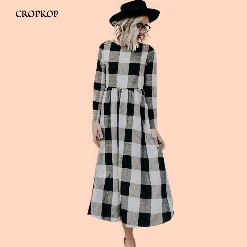 Women Plaid Dress O Neck Long Sleeve Robe Femme Vestidos High Waist Sukienki Elegant A Line Long Dress Autumn Female Clothing