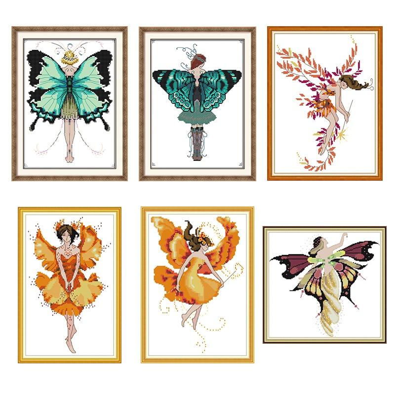 Серия с бабочками и сказочным рисунком, Набор для вышивки крестом Aida 14ct 11ct, Набор для вышивки на холсте, рукоделия