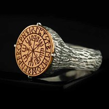 Dropshipping Gothic Style Nordic Mythological Compass Silvery Gold Viking Ring Luxury Personality Lo