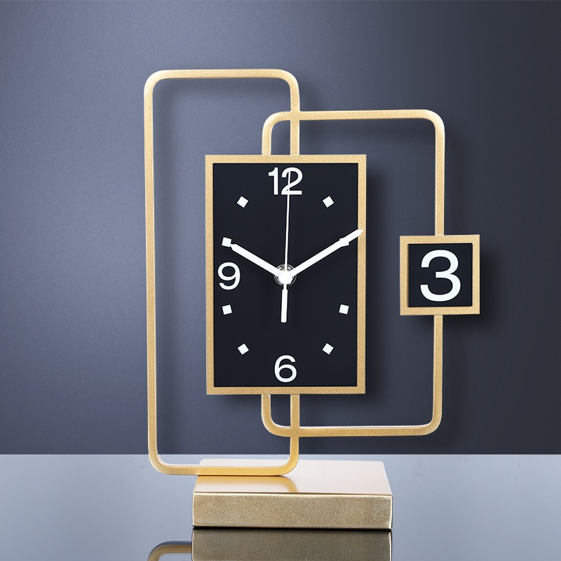 Escritorio De lujo reloj moderna sala De 3d Reloj De pared De Metal De oro relojes De Mesa reloj Reloj De escritorio reloj De Mesa decoración del hogar