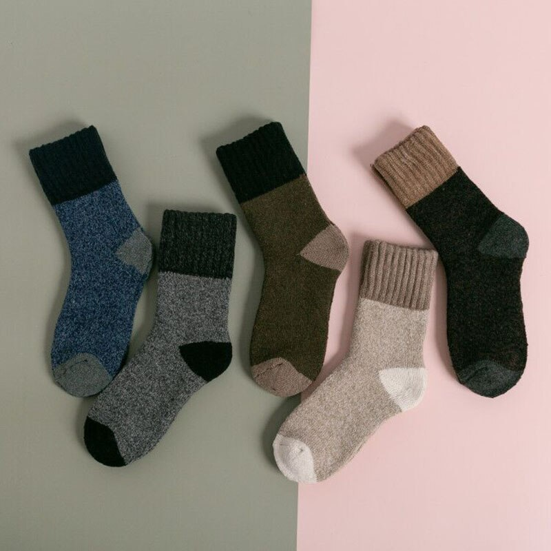 5Pairs/Lot Mens Extra-Thick Wool Socks Casual Autumn Winter  Color Matching Cozy Warm Soft Socks
