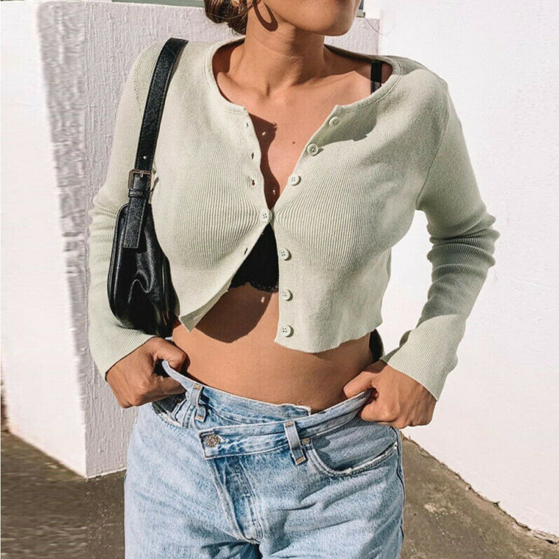Sexy Women Ladies Blouse Front Tie Up Crop Top Womens Wrap Open Cardigan Top V neck Knitting Button Short Tops