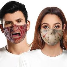 Adult Cosplay Halloween Masks Terror Jason Clown Funny Face Towel Decoration   Breathable Reusable Cotton Women Men Mouth Mask
