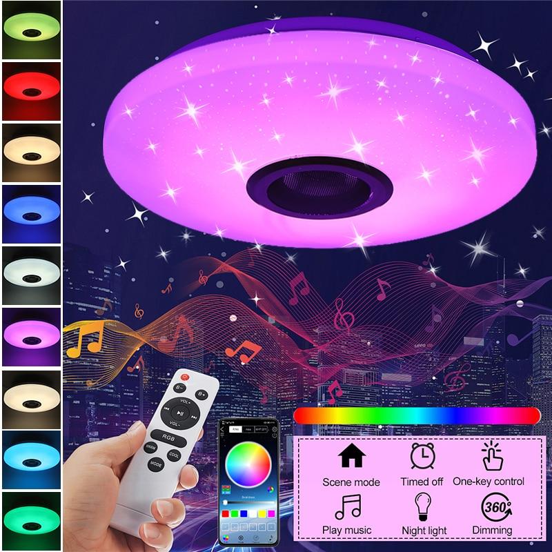 60 واط RGB عكس الضوء موسيقى سقف مصباح بعيد & APP تحكم سقف ضوء AC180-265V للمنزل سمّاعات بلوتوث ضوء