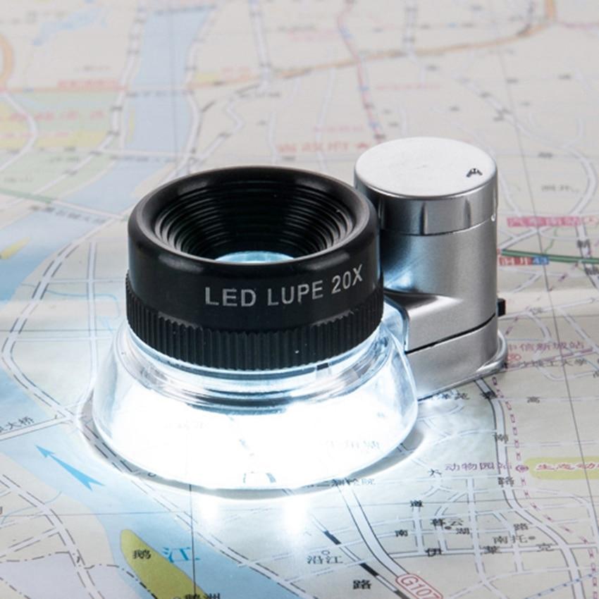 20x lente óptica de alta potencia con revestimiento azul, luz LED, lupa iluminante, impresoras de lupa, lupa de identificación