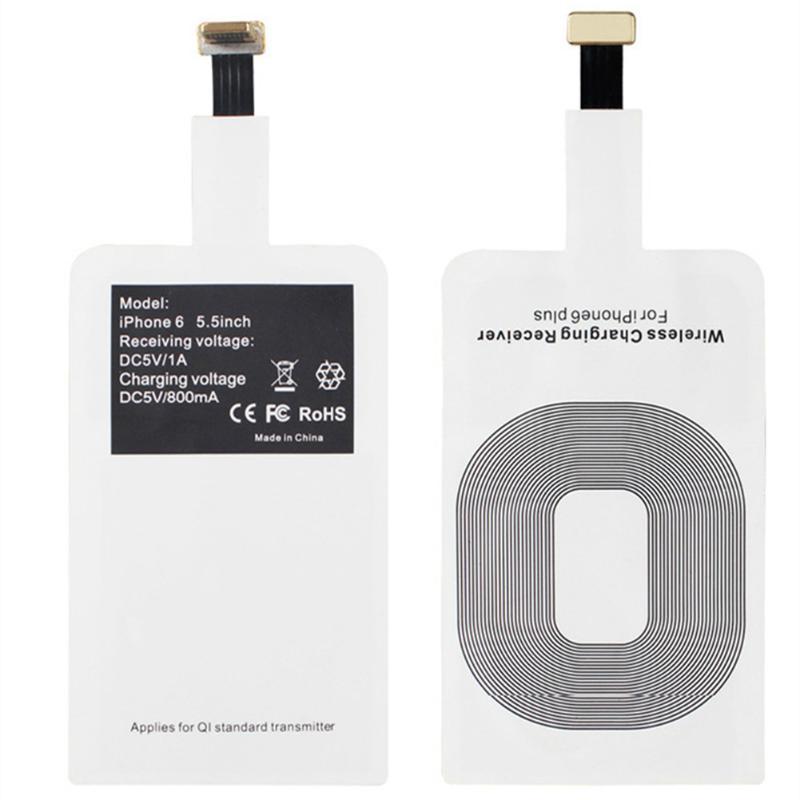 Almohadilla de bobina Receptor de Cargador Inalámbrico ALLOET, Mini adaptador de carga inalámbrico Qi inteligente, alfombrilla para iPhone 5, 5S, SE, 6, 6S, 6S Plus, 7 Plus, iPad