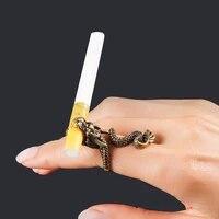 1 pc cigarette holder ring rack finger clip bronze opening adjustable cigarettes holder lighter smoking accessories gift for men