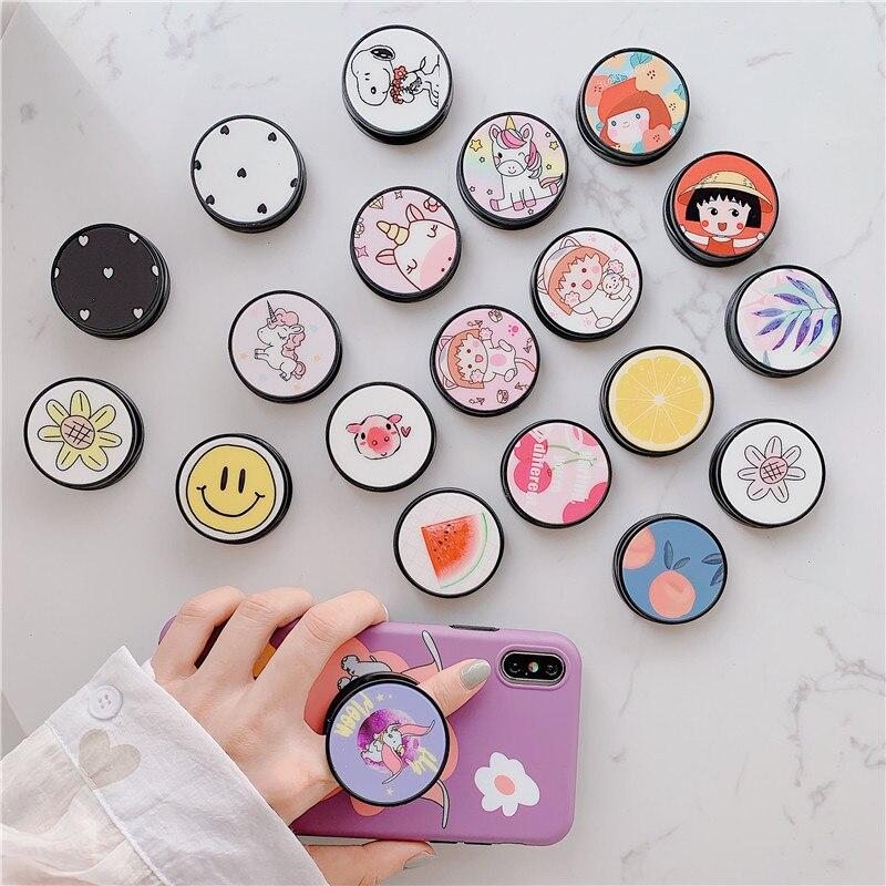 Soporte plegable de dibujos animados divertidos para el soporte del teléfono móvil para el iPhone X 7 para la caja del teléfono de Samsung para Huawei soporte de agarre Universal lindo