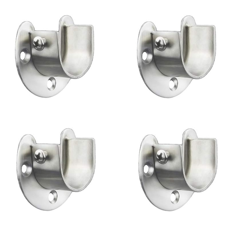 Stainless Steel Closet Closet Bracket, U-Shaped Open Socket Bracket, Shower Curtain Rod End Support Sleeve Flange