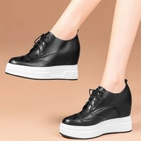 fashion sneakers women genuine leather wedges high heel vulcanized shoes female lace up round toe pumps shoes platform trainers