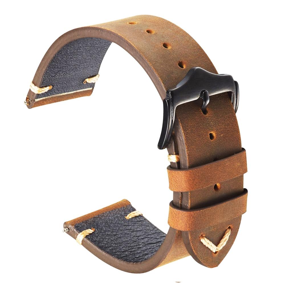 Watch bands Leather 20mm 22mm Unisex Genuine Straps Soft Vintage Brown Cow-hide Bracelet For Gear Sport