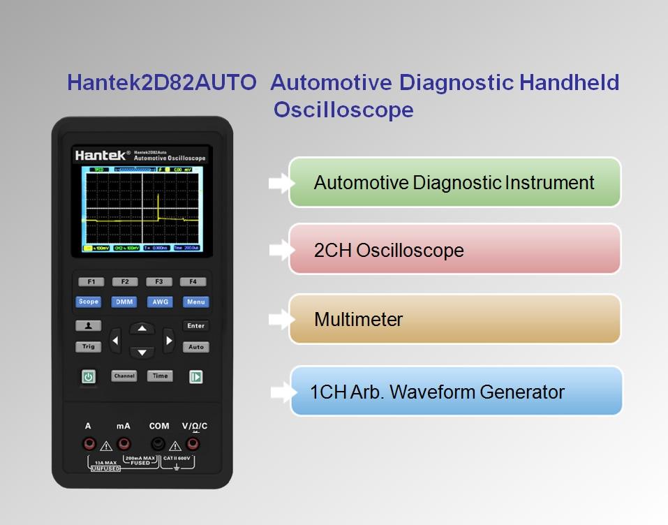 Hantek Digital Osiclloscope 2D82auto 4 en 1 2D82 2 canales osciloscopio + multímetro + diagnóstico automotriz + generador de forma de onda