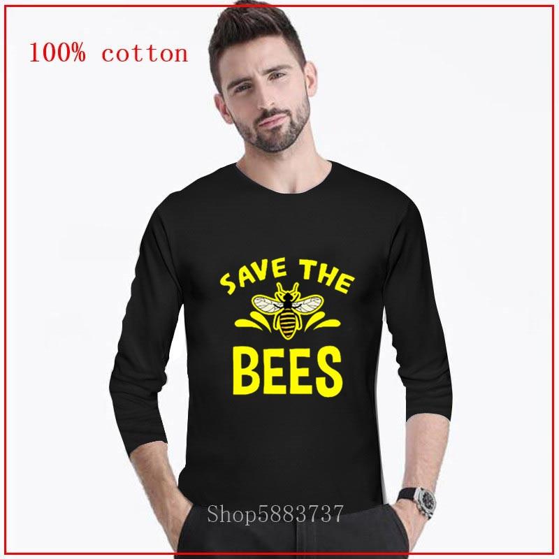 Save the bees Camiseta larga casuales de los hombres Save The Bees camiseta con motivo de abejas de algodón de flores silvestres gráfico Camisetas Hombre Ropa Unisex el envío de la gota