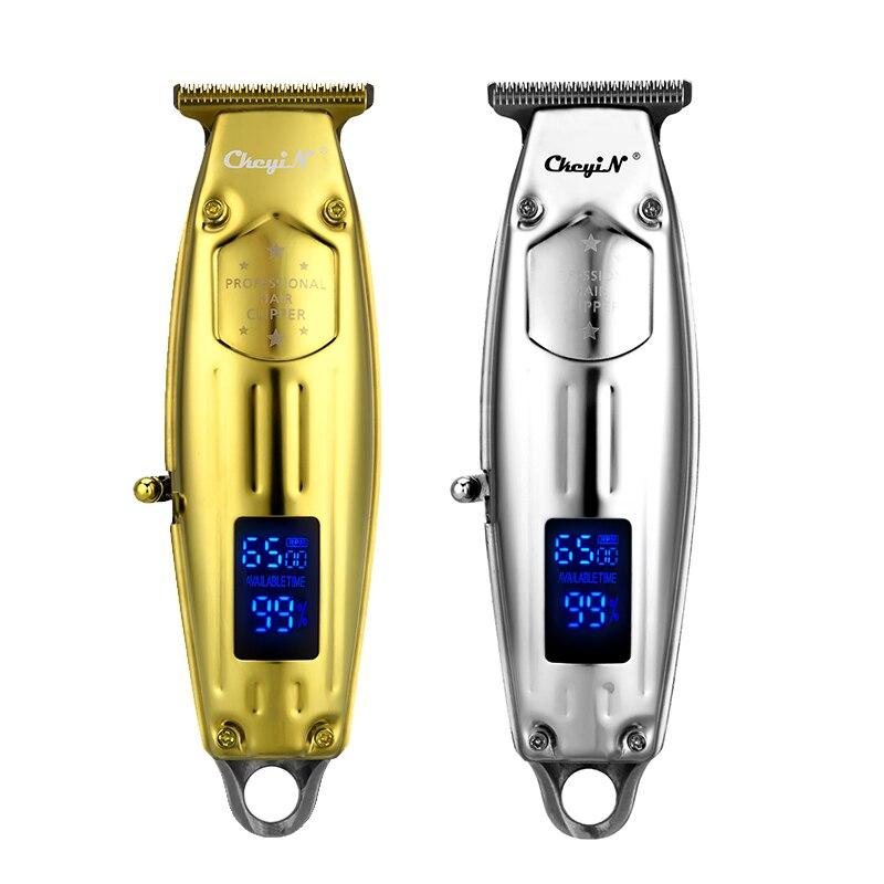 Ckeyin all-metal aparador de cabelo elétrico com display lcd t-lâmina máquina de cortar cabelo para homens barba máquina de corte sem fio com fio