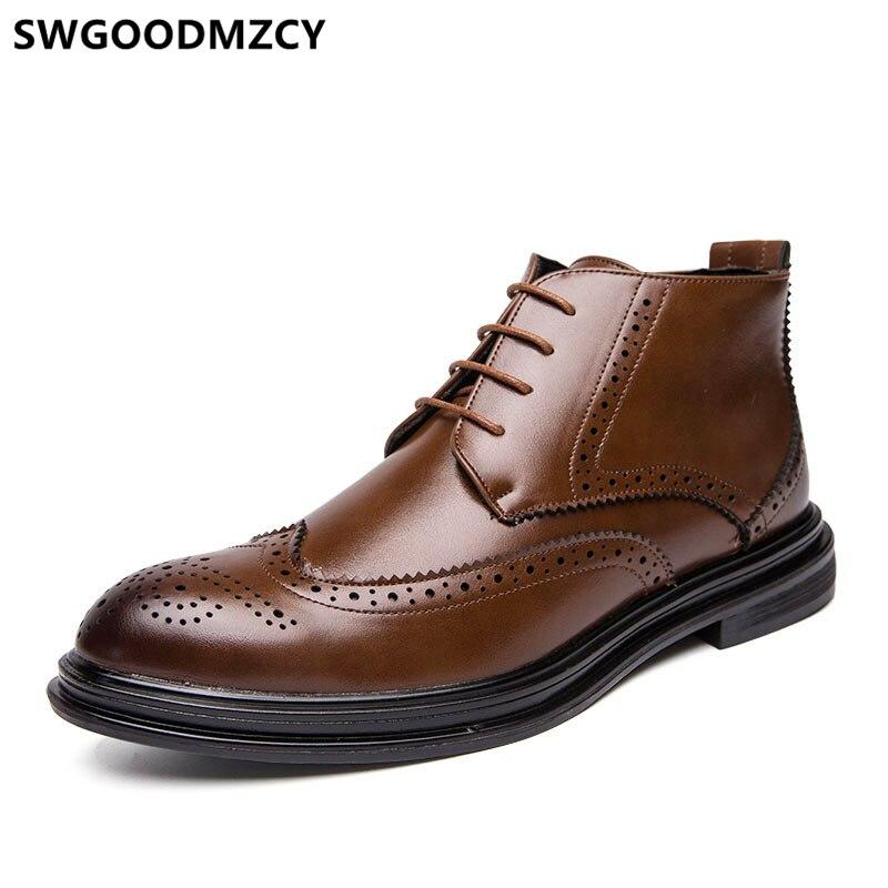 Botas de Couro dos Homens Marca de Luxo Botas de Couro Vestido Botas Brogue Sapatos Masculinos Italiano Marrons Coiffeur Tornozelo