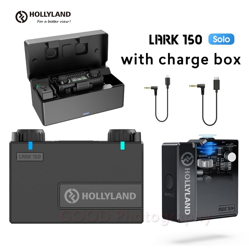 Hollyland قبرة 150 سولو 2.4Ghz اللاسلكية ميكروفون كيت مع شحن مربع LARK150 سولو Lavalier ميكروفون للفيديو لايف للهواتف الذكية