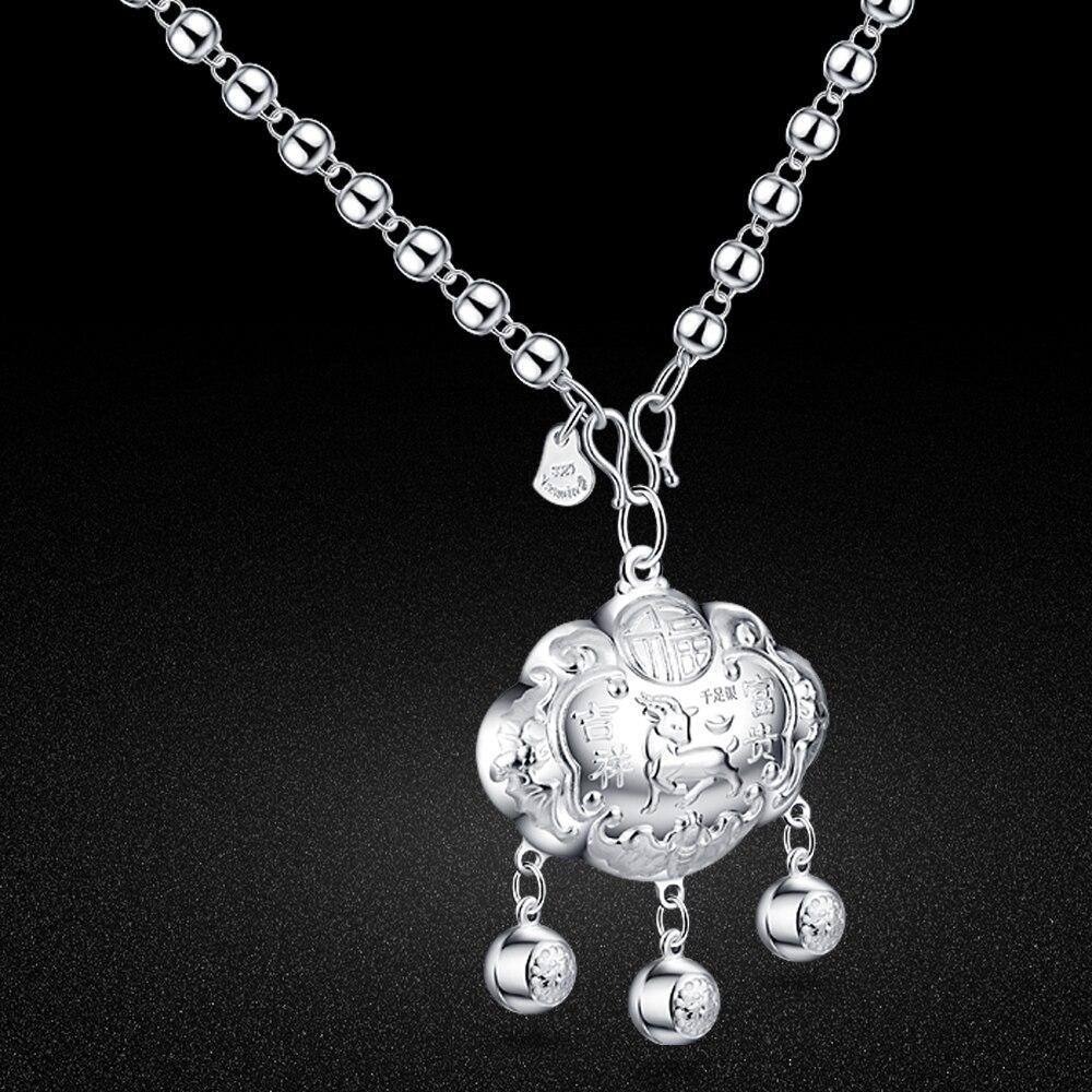 ¡Oferta! Joyería de estilo chino 100% collar de cadena larga de cuentas de plata de ley 925 para mujer cerradura de caballo colgante gargantilla Accesorios