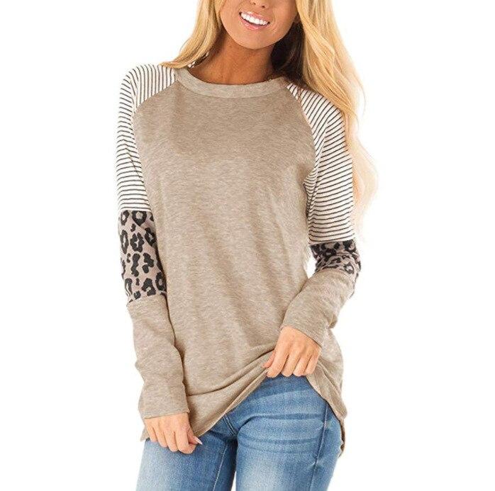 Women Striped Leopard Patch Baseball Long Sleeve T-Shirt Femme Plus Size Tee Top Shirt Korean Casual Basic Clothes Trendy Autumn