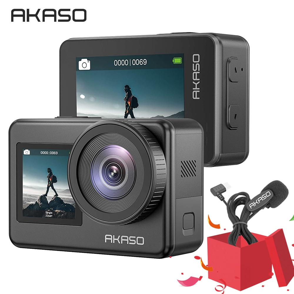 AKASO Brave 7 4K30FPS 20MP WiFi Action Camera Touch Screen Vlog Camera EIS 2.0 Zoom Voice Control Waterproof Camera Suport Mic