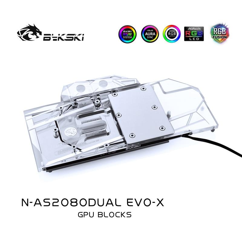 Bloque GPU Bykski para ASUS DUAL RTX2080/2070S 8G Evo, tarjeta gráfica de refrigeración por agua, cabezal enfriado de cubierta completa, N-AS2080DUAL EVO-X