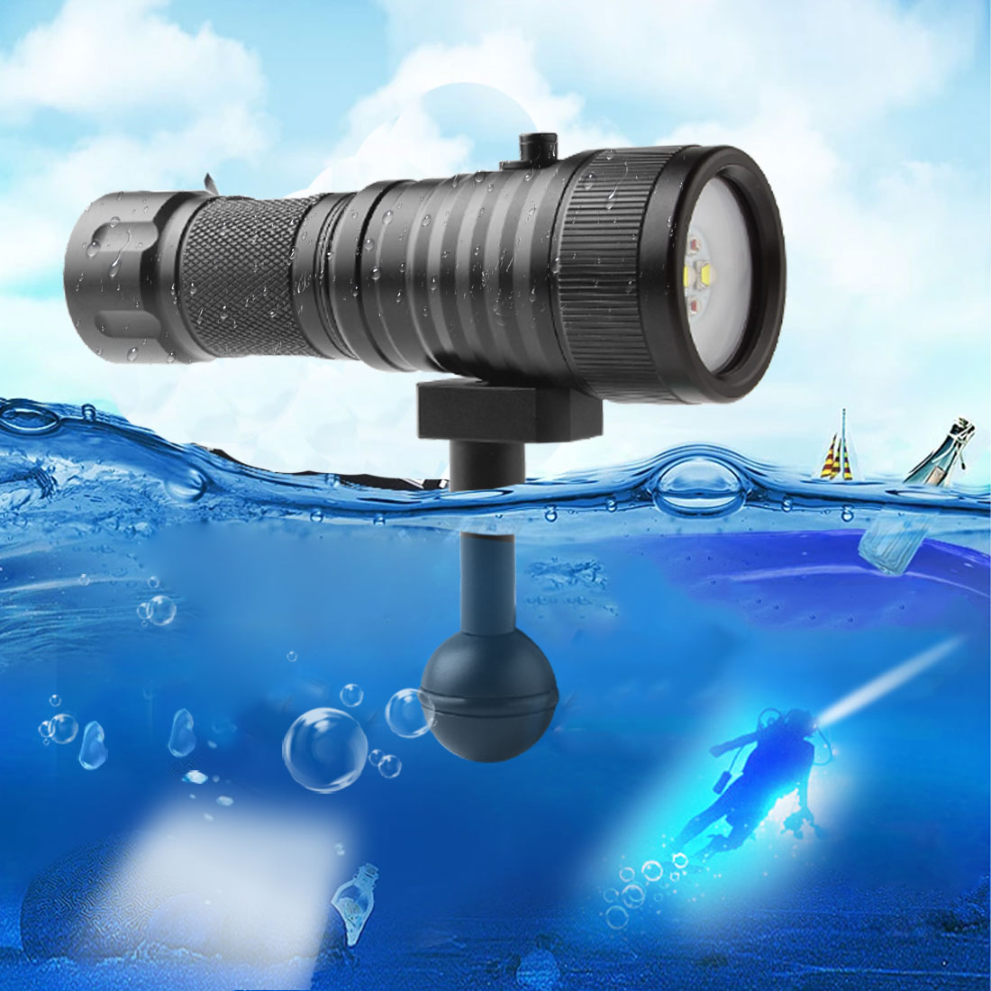 5W SecurityIng LED Flashlight Diving Wide 120 Degrees Beam Angle Scuba Diving Photography Video Flashlight 1500LM LEDS torch enlarge