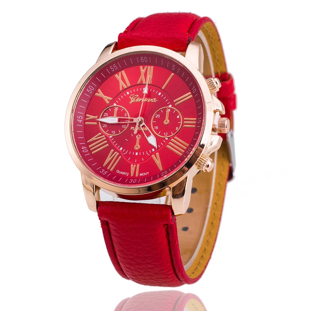 New simple leather Brand Geneva Casual Quartz Watch Women Crystal Leather Watches Relogio Feminino W
