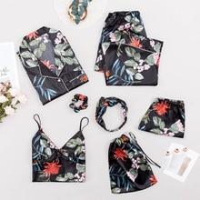 Lipiec piosenka nowa kobieta piżama zestaw 7 sztuk satynowa czarna bielizna nocna ze sztucznego jedwabiu dla kobiety komplet piżamy wiosna lato jesień Homewear