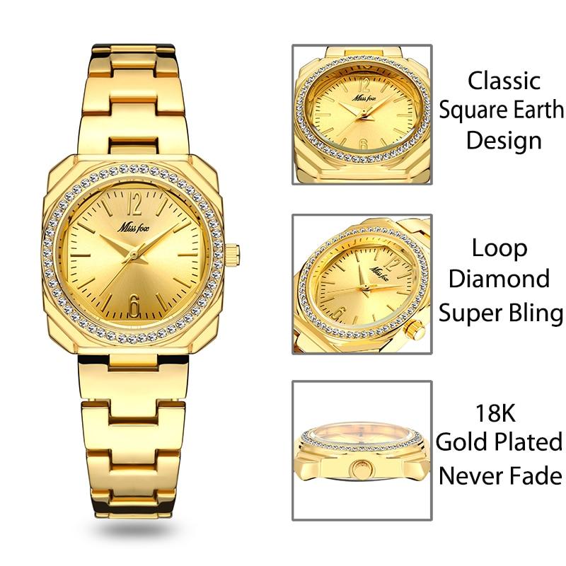 MISSFOX Arabic Numbers Square Watch Women Luxury Brand Ladies Bling Bling Watch Water Resistant Gold Bracelet Quartz Wristwatch enlarge