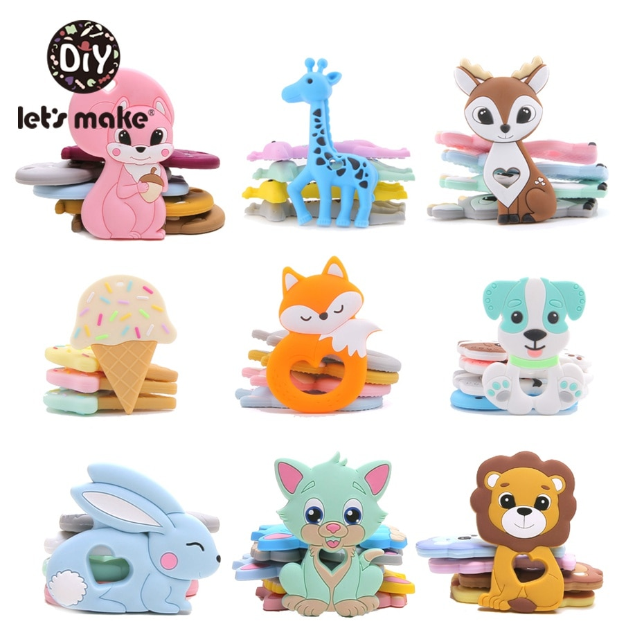 Let'S Make Silicone Teether 1Pc Tiny Rod Bpa Free Food Grade  Cartoon  Shape Pacifier Clip Diy Accessory Baby Teething Cute Toys недорого