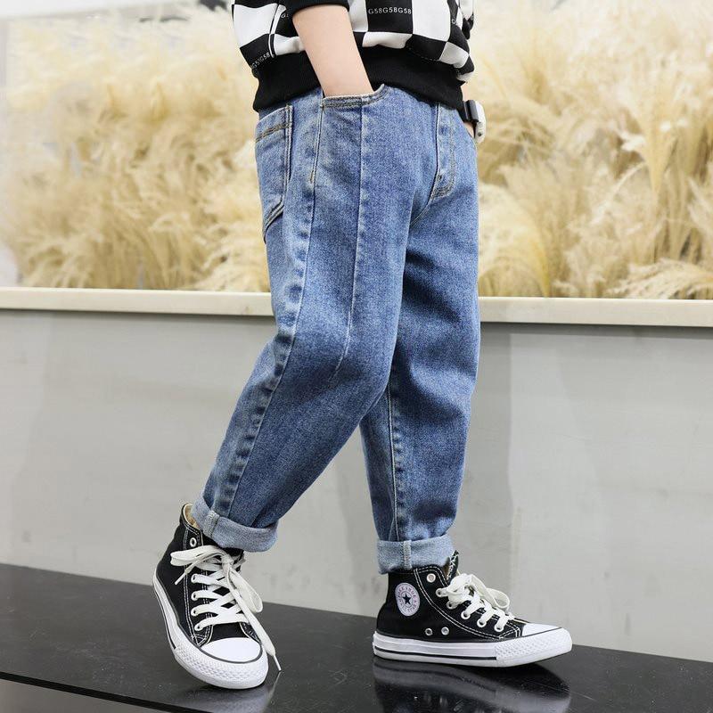 IENENS Kids Jeans Casual Pants Boy's Clothes Boy Loose Letter Pants 4-11Y Child  Autumn Cotton Denim Pants Young Stretch Jeans