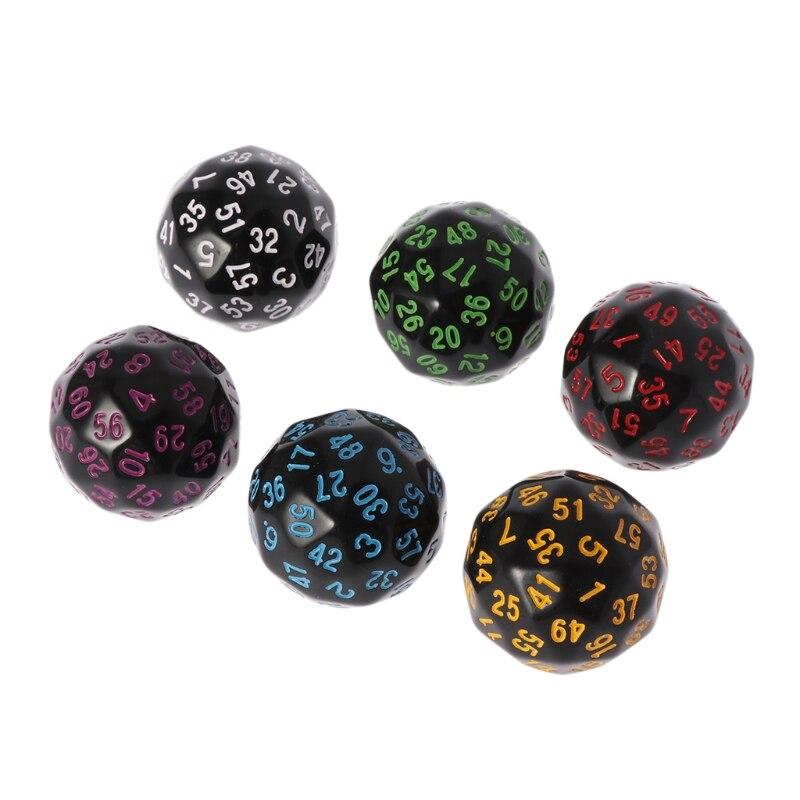 6 uds. 60 lados D60 dados poliédricos para Casino D & D RPG MTG partido Mesa juego Q1FF