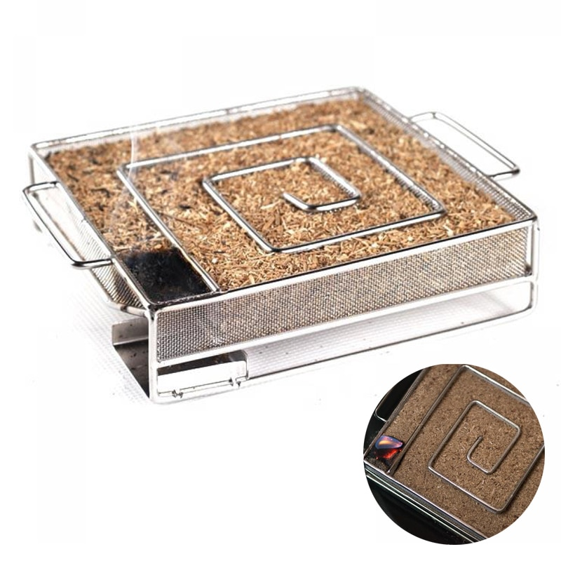 нержавеющая сталь Холодный генератор дыма с яблочными кусками древесины Аксессуары для барбекю 0,25 кг / 0,5 кг