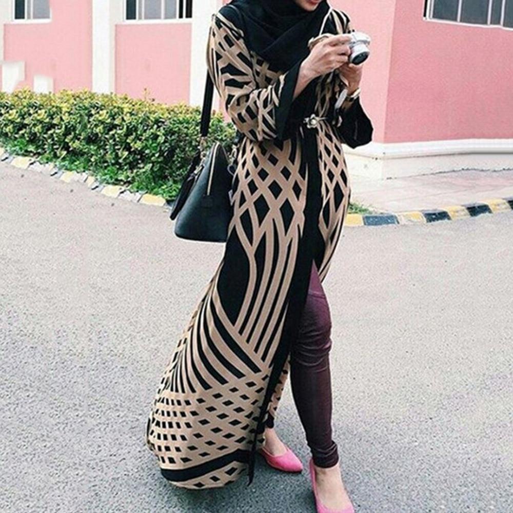 Vestido musulmán de mujer de manga larga Islámico de Dubai Abayas Kimono Indonesia Oversized Casual Robe Kaftan Maxi Cardigan vestidos