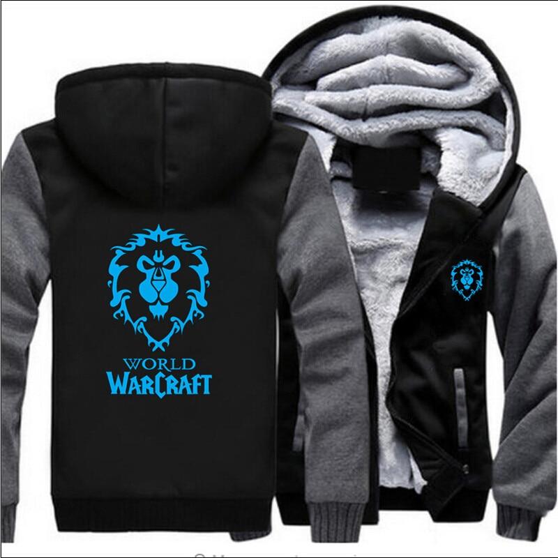 2019 jogo dota 2 wow aliança hoodies engrossar zíper jaquetas inverno pulôver homem casacos de lã dos homens forro de lã de lã unisex camisolas