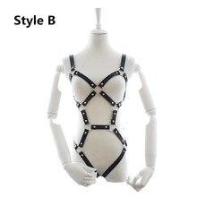 BDSM Bondage cuir corps harnais Lingerie avec jarretière érotique ceintures chasteté pour fétiche esclave contraintes, poitrine exposée
