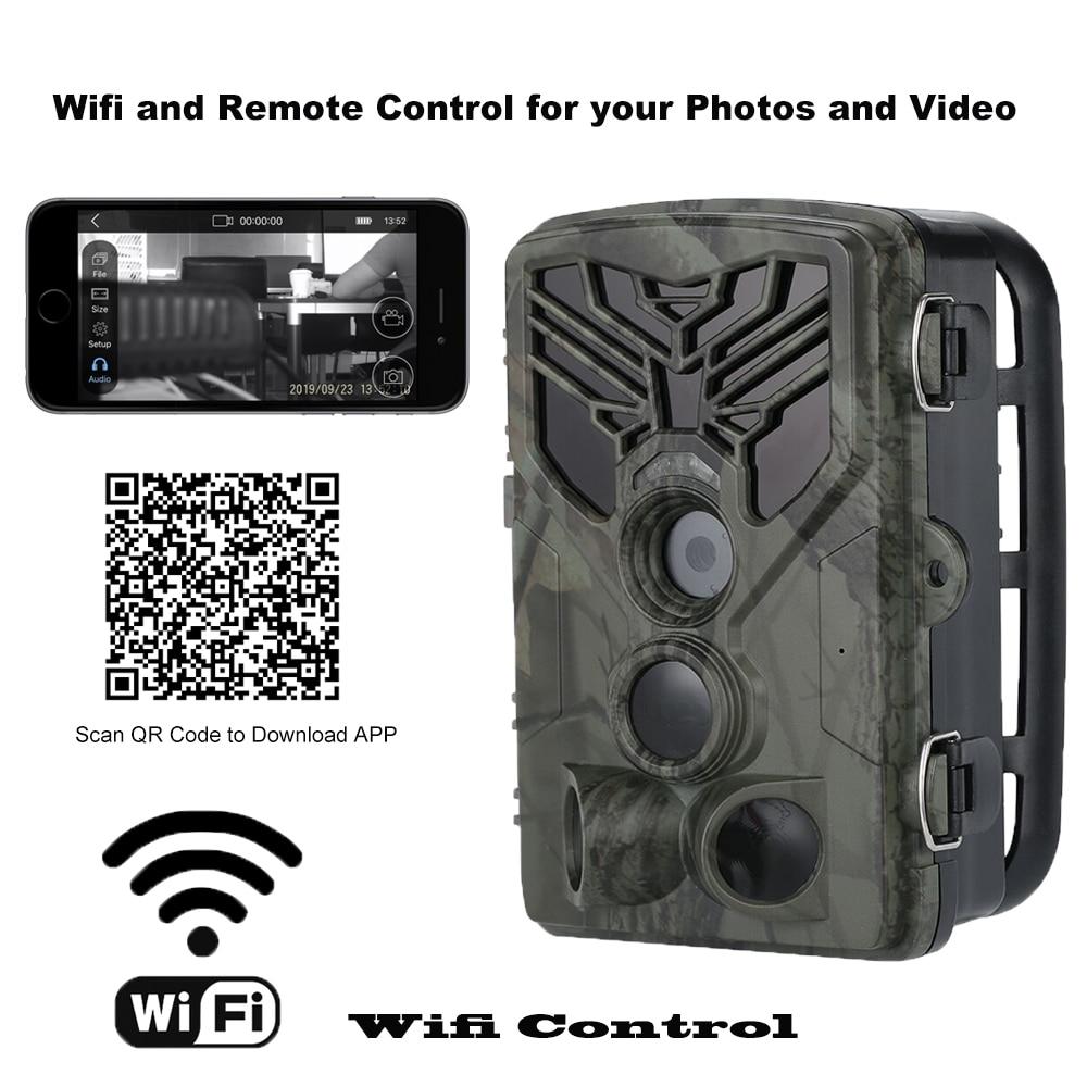 Cámara de rastreo Wifi, Control remoto, cámaras de caza HC810A, 20MP, 1080P, visión nocturna, vida silvestre, aplicación, trampas fotográficas, vigilancia inalámbrica
