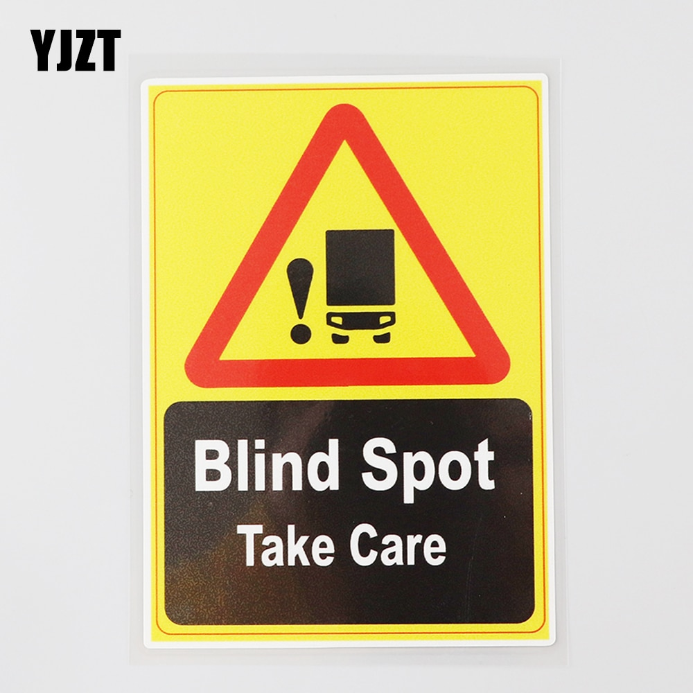 YJZT 10.6CM×15.3CM Warning Blind Spot Take Care Decal PVC Car Sticker 12C-0478