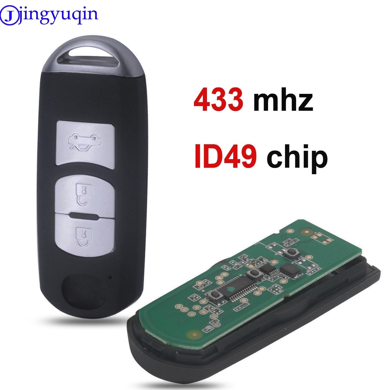 Jingyuqin 3 düğmeler akıllı araba anahtarı MAZDA için CX-3 CX-5 Axela Atenza Model SKE13E-01 SKE13E-02 kontrolü 433mhz