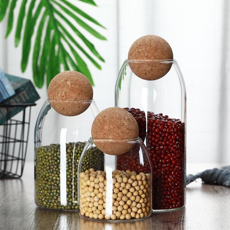 برطمانات مطبخ زجاجية محكمة الغلق مع غطاء ، صندوق تخزين مع كرات دائرية من الفلين ، حبوب قهوة ، فواكه مجففة ، حبوب شفافة