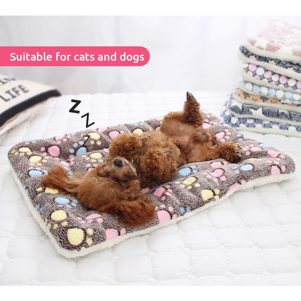 Nueva suave cama para gatos, manta para perros, cojín plegable de invierno para mascotas, Hondenmand, Cachemira Coral, suave, cálido, alfombrilla para dormir, cama para sueños dulces