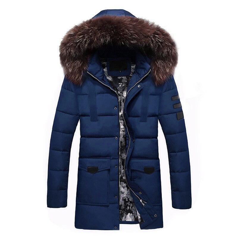 معطف سميك بغطاء للرأس للرجال ، ملابس مبطنة بالقطن مع ريش ، متوسط الطول ، متعدد الاستخدامات ، للشباب ، خريف وشتاء