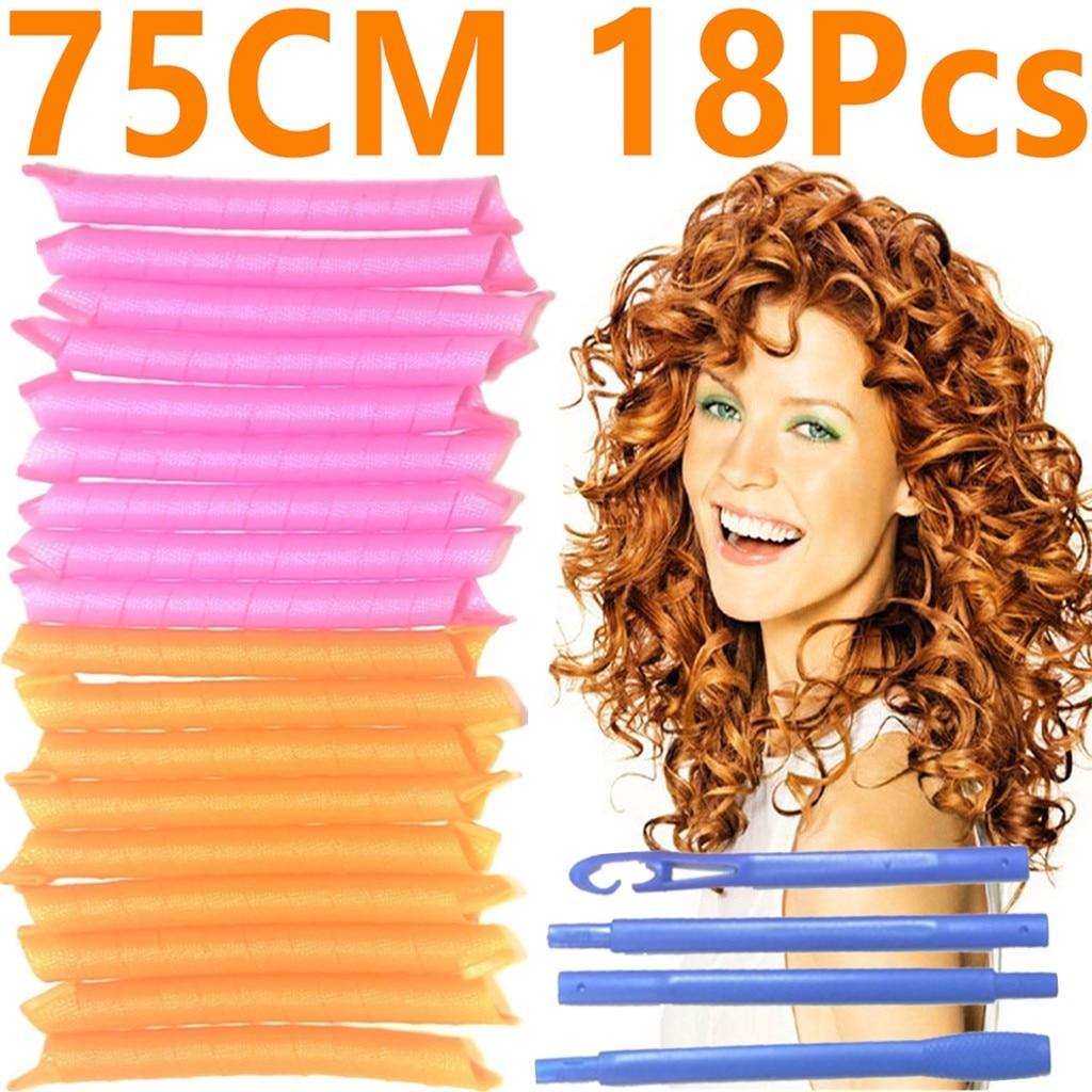 Hair Rollers Shape Not Waveform 75CM 18Pcs 4 Sticks Spiral Round Curls Hair Curler Soft Hair Curler