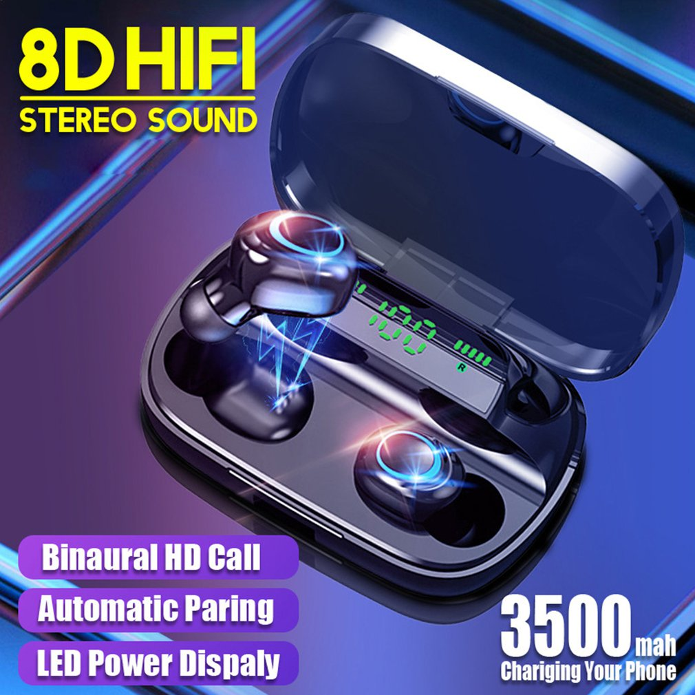3500m  true wireless headset dual in-ear with digital display sports waterproof dual ear digital display earphone