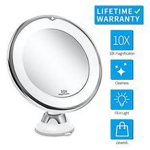 Espejo de tocador de maquillaje con 10X luces LED iluminadas portátil mano cosmética aumento iluminar espejos VIP Dropshipping