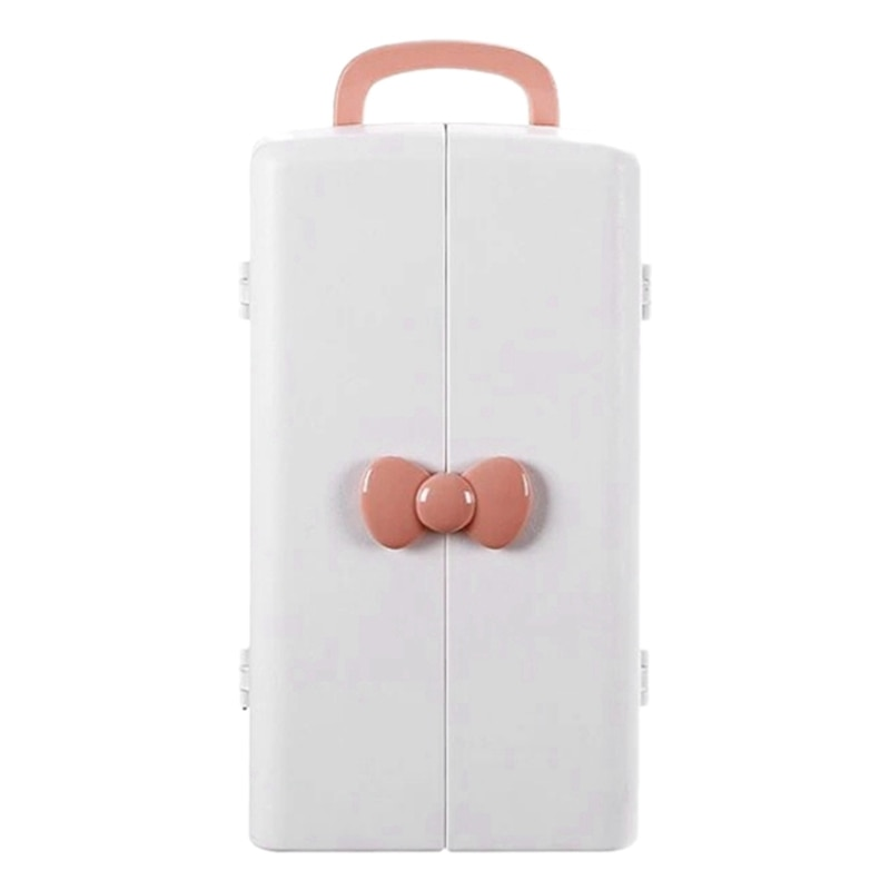 صندوق تخزين مستحضرات التجميل الوردي المحمول ، منضدة الزينة المنزلية ، خزانة التخزين ، سعة كبيرة ، رف منتجات العناية بالبشرة