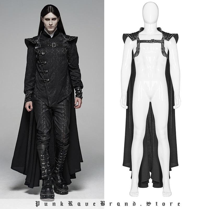 PUNK RAVE Gothic-كيب أسود طويل للرجال ، بانك ، المحارب ، مع سلسلة فضية ، معطف الهالوين ، أزياء النادي