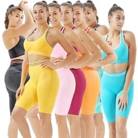 fitness yoga bra shorts sportswear contrast color knit hip lifting yoga set tracksuit women seamless sets yoga set workout set