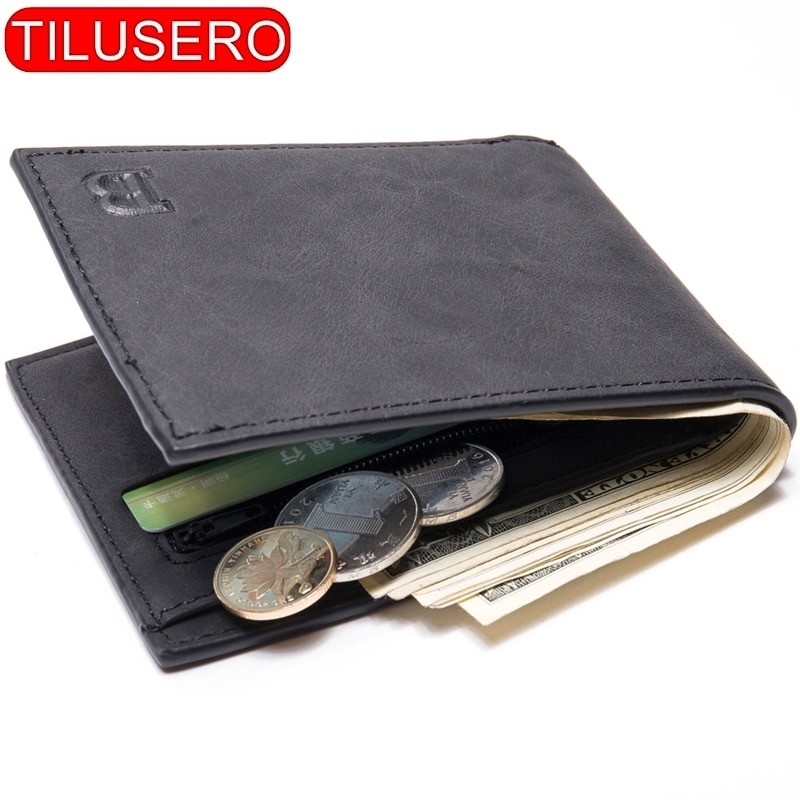 Fashion Mini Slim Wallet Mens Money Purse Coin Bag Zipper Short Men Wallet Card Holder Compact Money